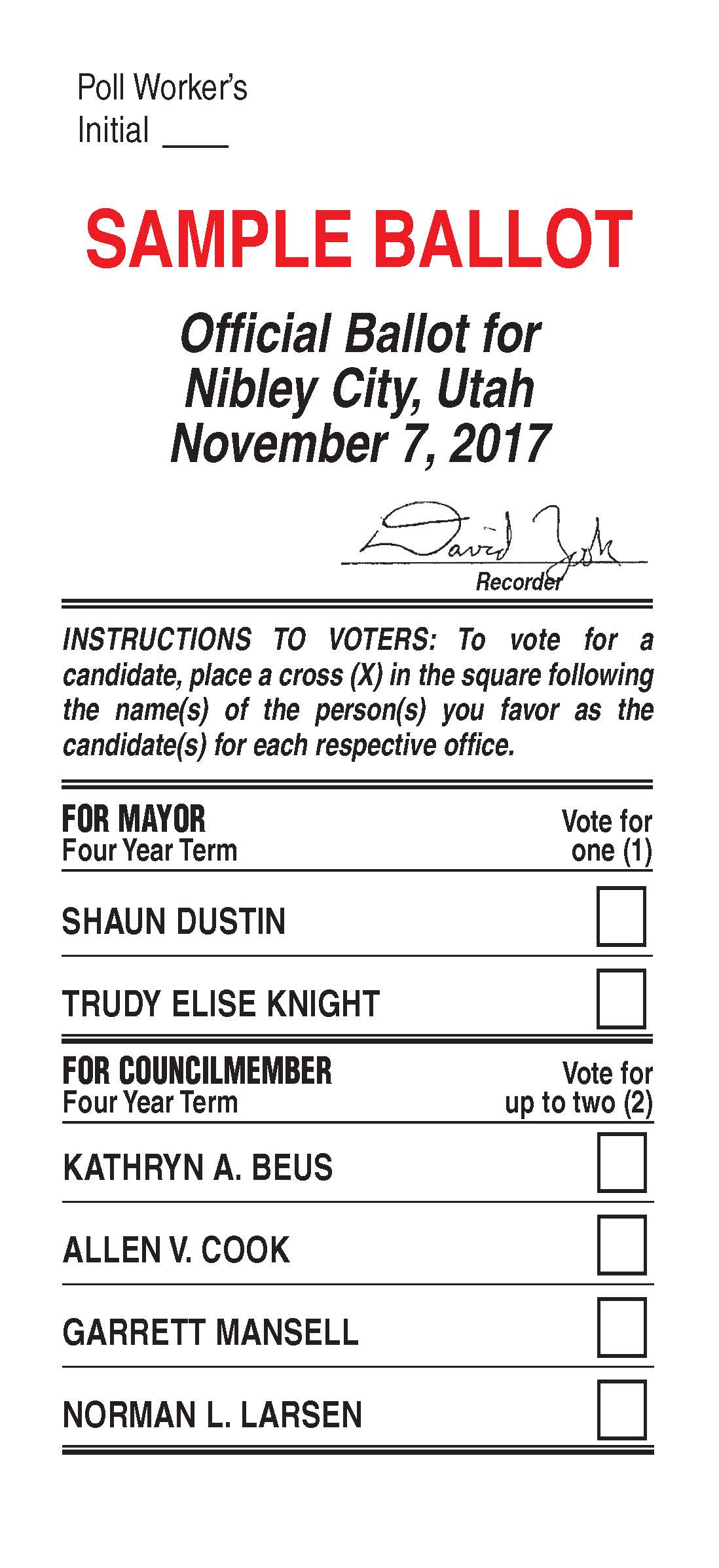 Nibley City 2017 General Election Sample Ballot