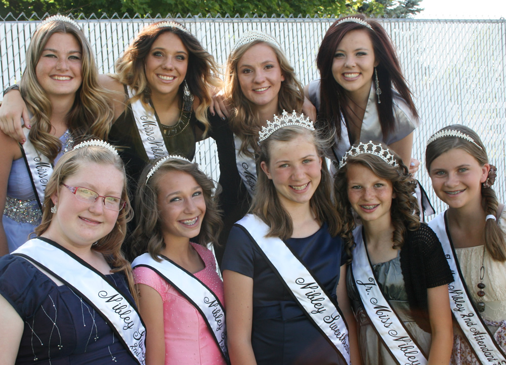 Top row from left to right: Vonnie Nelson - Miss Nibley 2nd Attendant, Kianna Fenton - Miss Nibley 3rd Attendant, Sara Oborn - Miss Nibley, Karlie Swenson - Miss Nibley 1st Attendant. Bottom row from left to right: Amiah Orth - Sweetheart 2nd Attendant, Becca Larsen - Sweetheart 1st Attendant, Elizabeth Sweeten - Nibley Sweetheart, Savannah Knight - Junior Miss Nibley, Megan Covington - Junior Miss 2nd Attendant. Not Pictured: Kimber Jaussi - Junior Miss 1st Attendant.